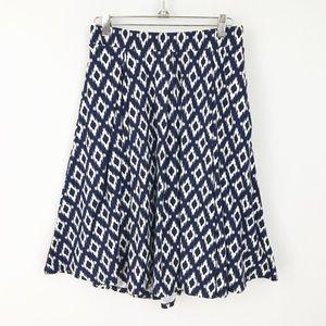 Lularoe Large Madison Skirt Ikat Blue White A Line